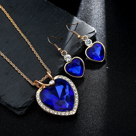 The Cleopatra Heart Shaped Luxury Jewelry Gift - Sapphire Style 2