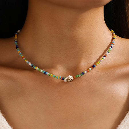 Pine Leaf Colorful Bead Clavicle Necklace