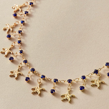 Starfish Blue Crystal Bead Necklace