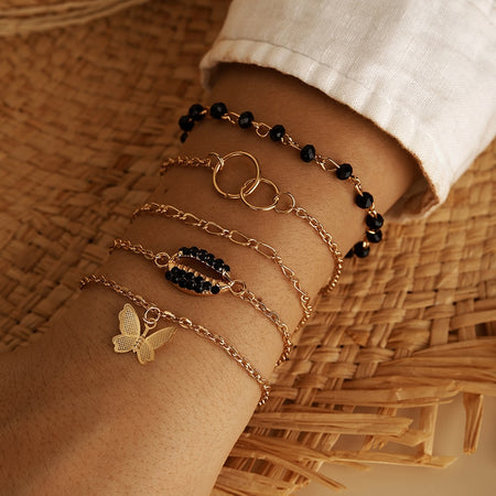 Pretty Butterfly Black Bead Bracelet Gift