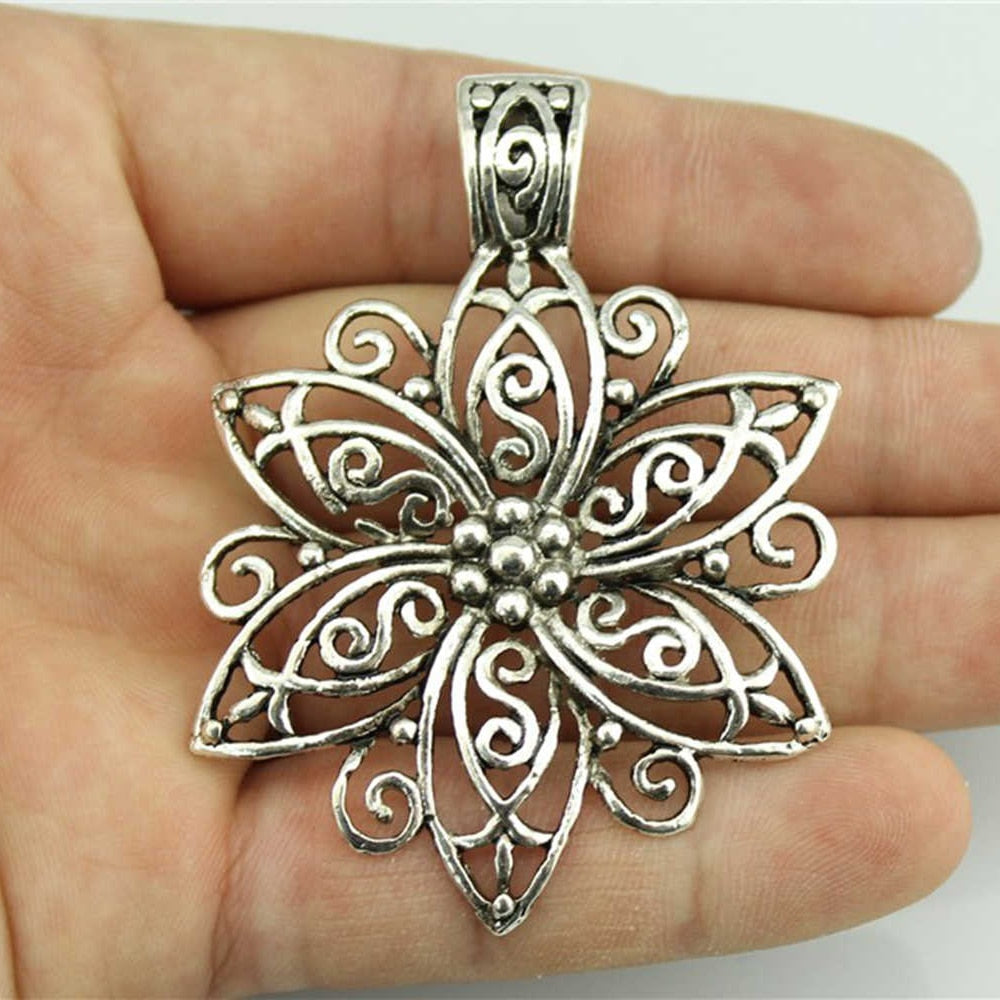 Bohemia Flower Carved Filigree Charm Pendant