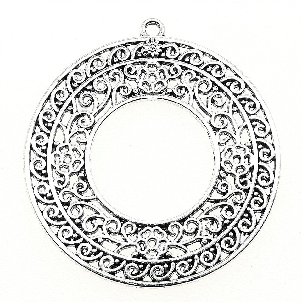 Filigree Carved 48x45mm Charm Pendant