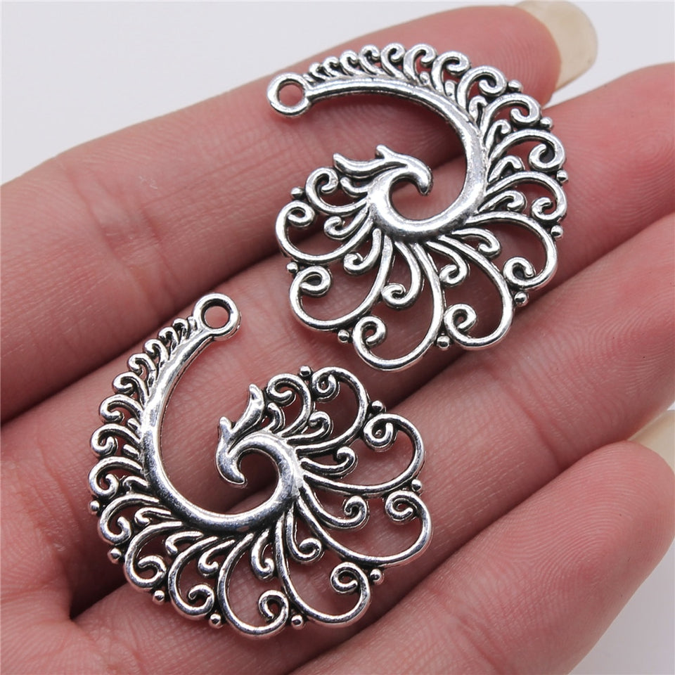 Spiral Phoenix Antique Silver Jewelry Findings