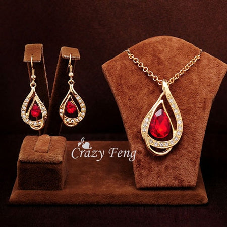 Elegant Sam Maries Austrian Crystal Jewelry Set - Red