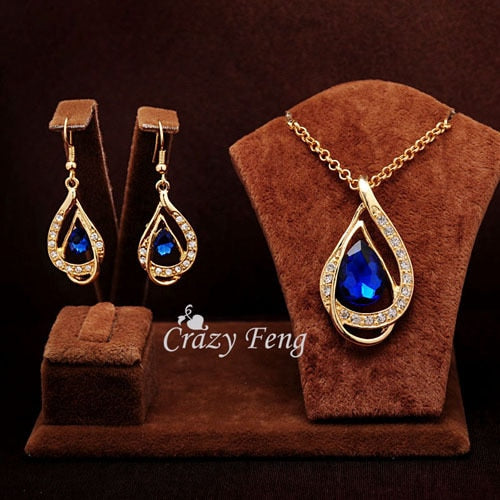 Elegant Sam Maries Austrian Crystal Jewelry Set - Blue