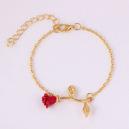 Elegant Adjustable Red Rose Flower Bracelet Jewelry Gift - Style 3