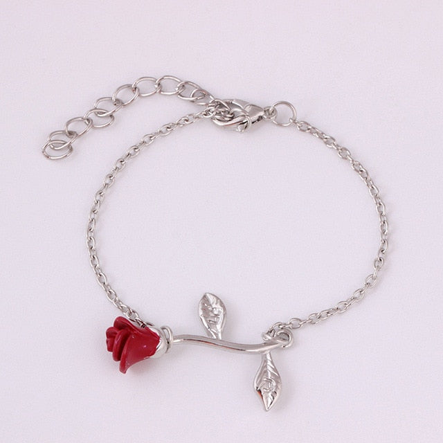 Elegant Adjustable Red Rose Flower Bracelet Jewelry Gift - Style 2