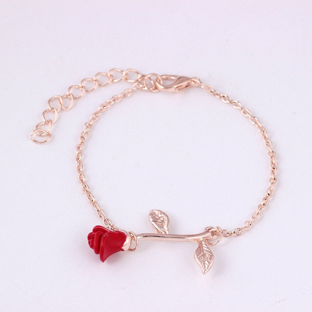 Elegant Adjustable Red Rose Flower Bracelet Jewelry Gift - Style 1