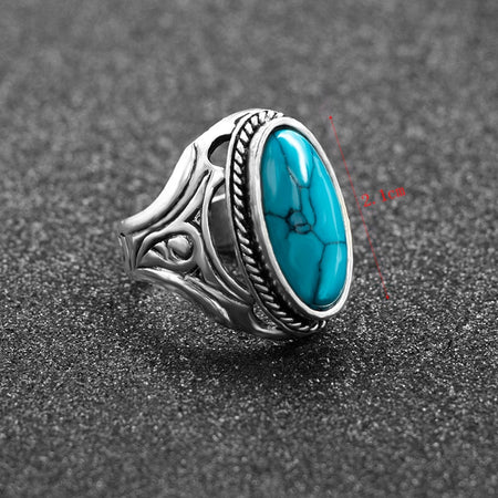 Secret Stone Tibetan Ring Jewelry Gift - Size 12