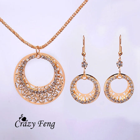 Elegant Gold Color Hollow Round Crystal Necklace Earrings Jewelry Set