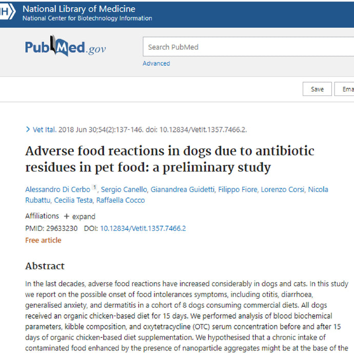 Adverse food reactions due to the presence of antibiotic residues in the dog diet: a preliminary study