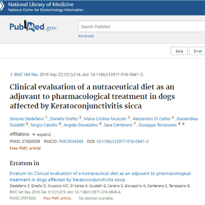 Clinical efficacy of the DEFENSE ACTIVE diet in dogs suffering from keratoconjunctivitis sicca