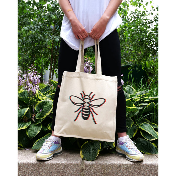 3D Manchester Bee – Heavyweight Tote Bag Totes The Manc Store