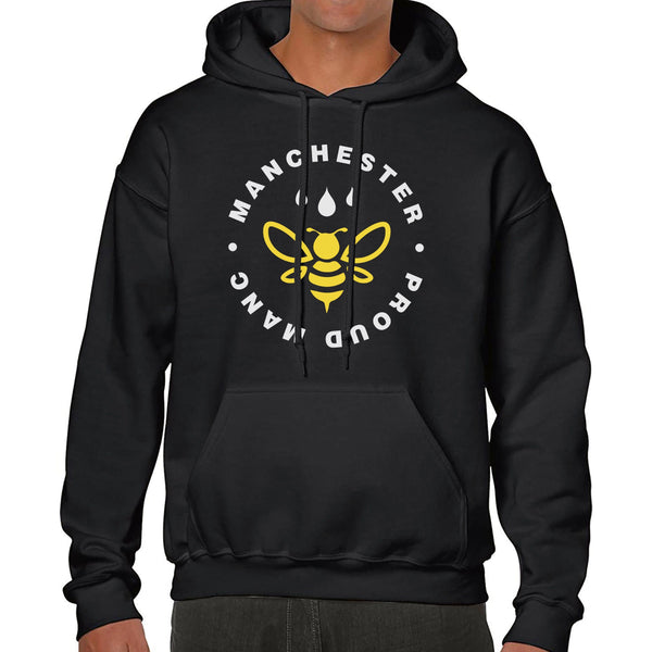 Manchester Worker Bee Chest Emblem Hoodie Hoodies The Manc Store Small