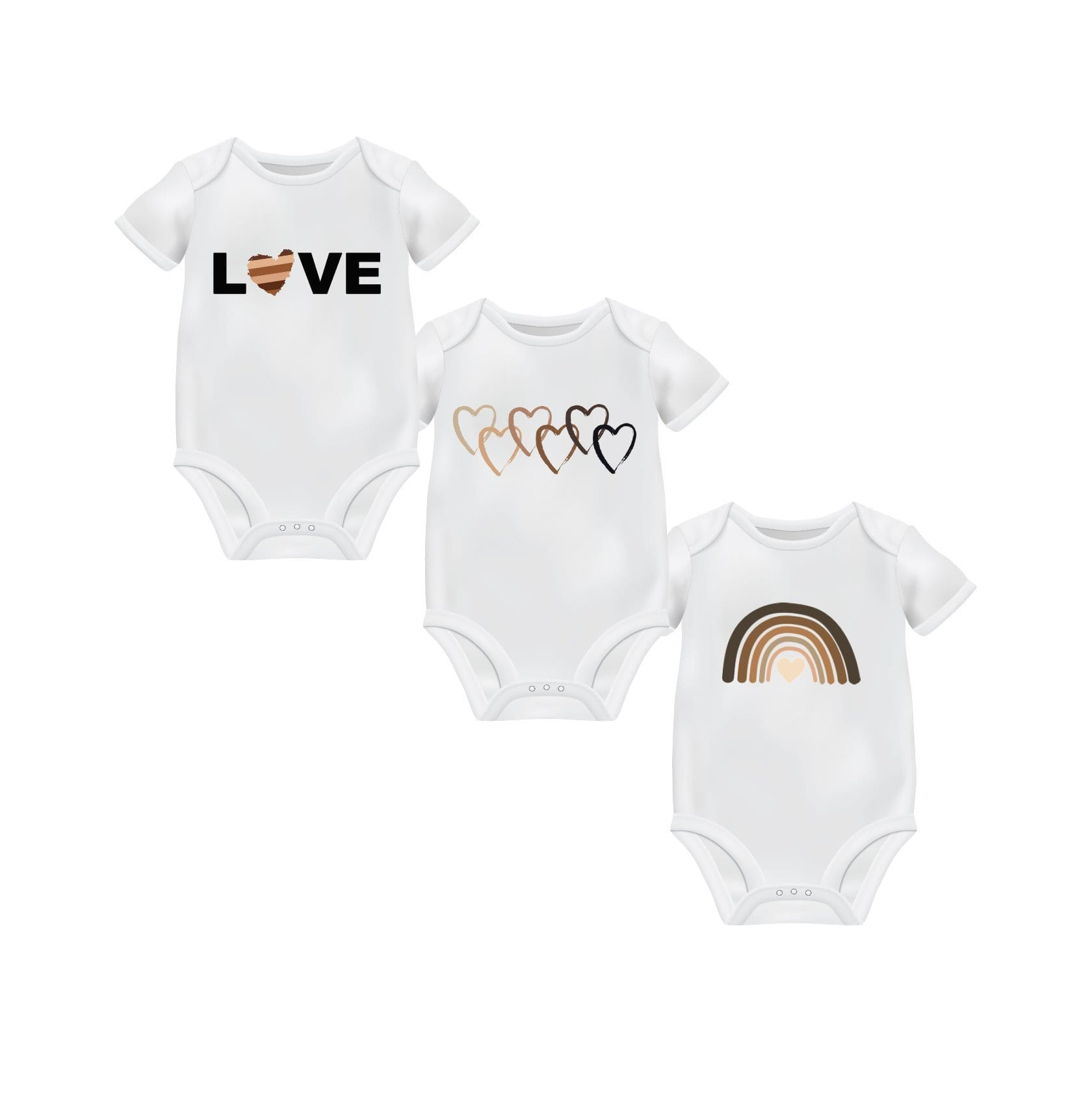 3 Pack Shades of Love Bodysuits for Infants and Babies