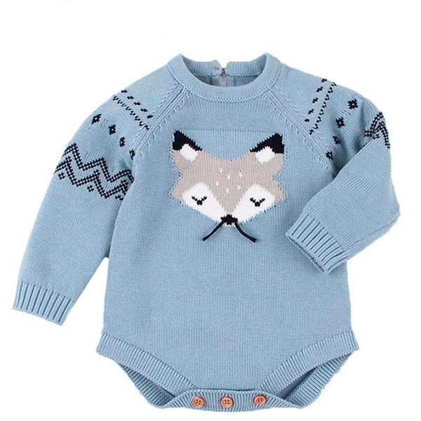 Fox Print Knit Romper Romper Hearts of Gems