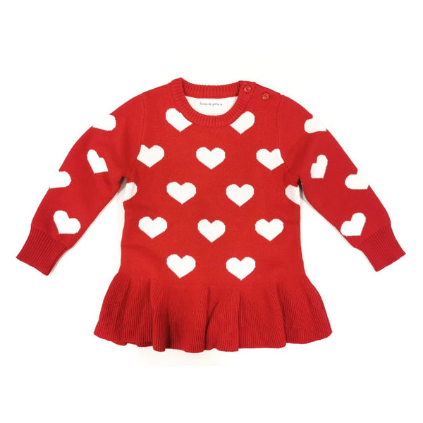 Hearts Pleated Sweater Sweater Hearts of Gems