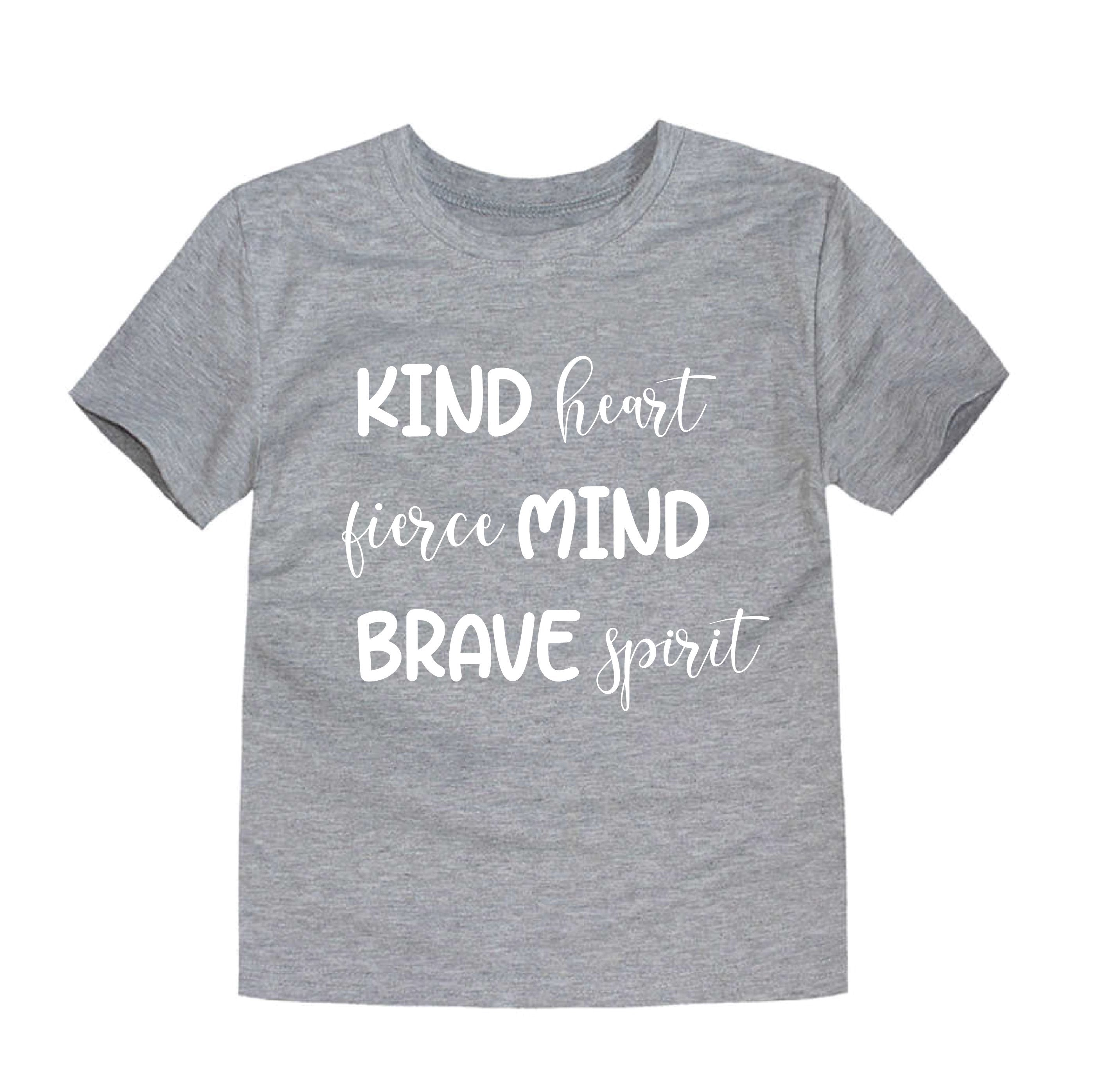 Kind Fierce Brave Grey T-Shirt for Toddlers