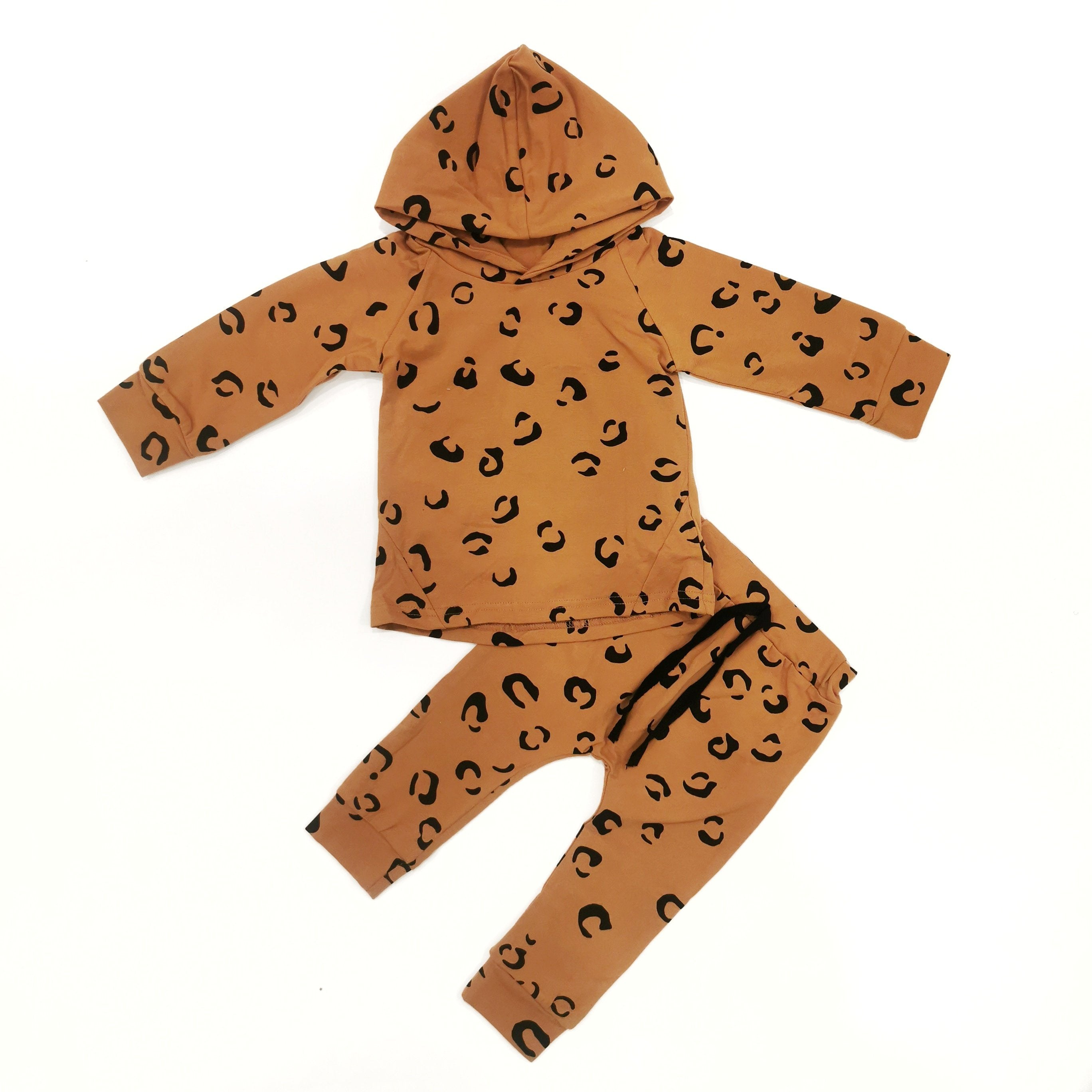 2-Piece Brown Leopard Print Sweatshirt Set