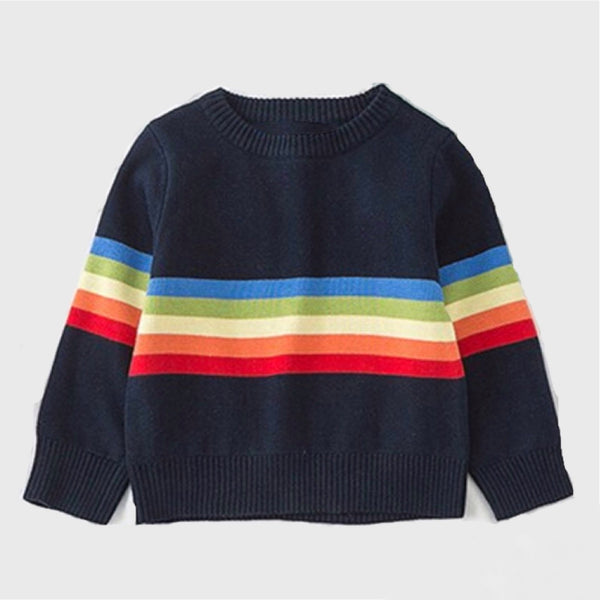 Navy Blue Rainbow Sweater Outerwear Hearts of Gems