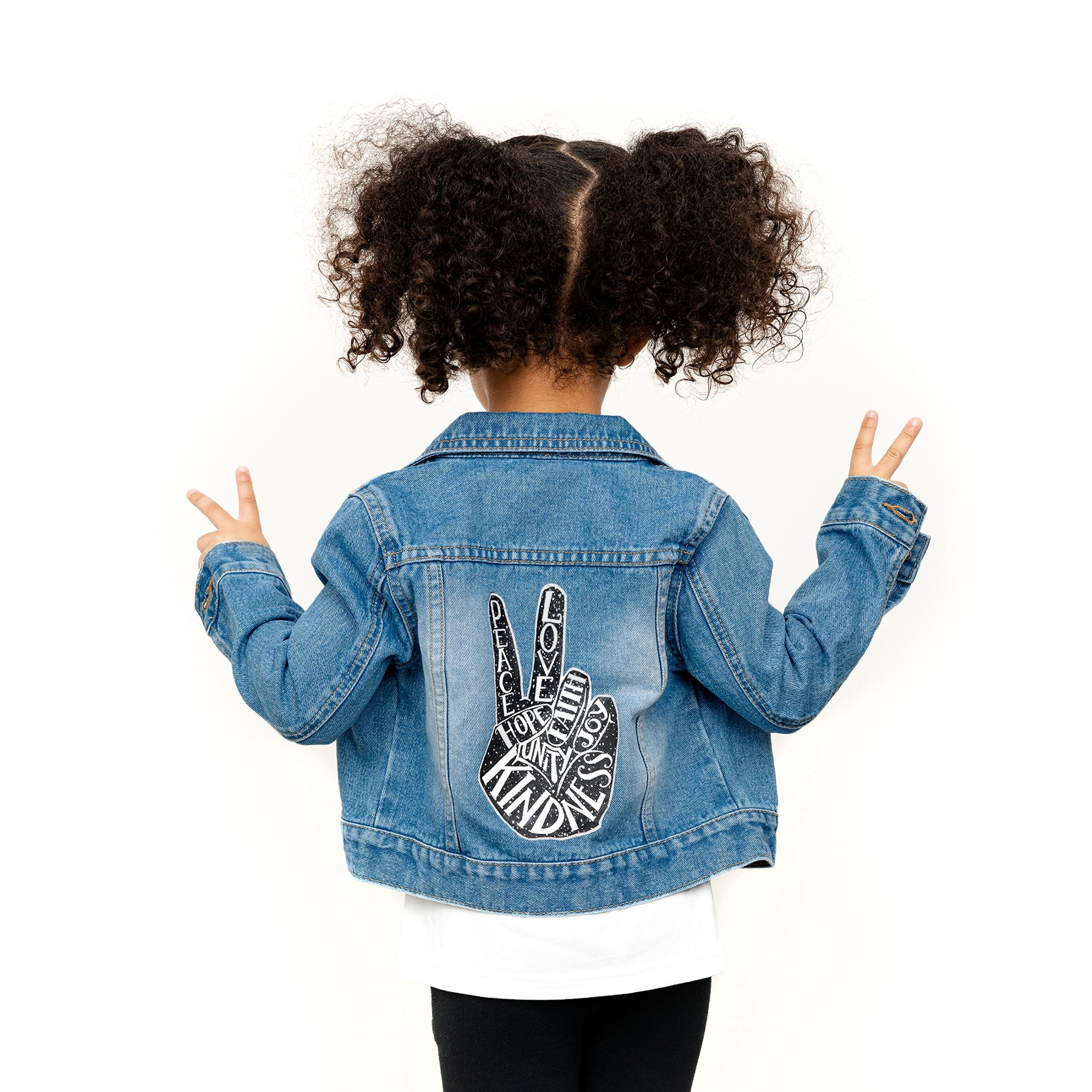 Peace Denim Jacket with Detachable Hood for Kids