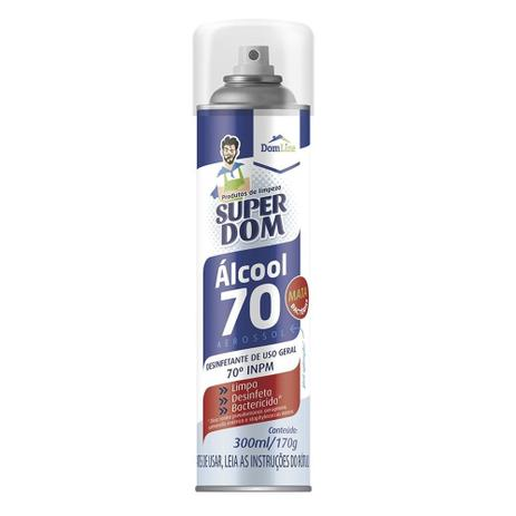 Álcool Spray 70 Super Dom 300ml 170g - Aerosol - Domline