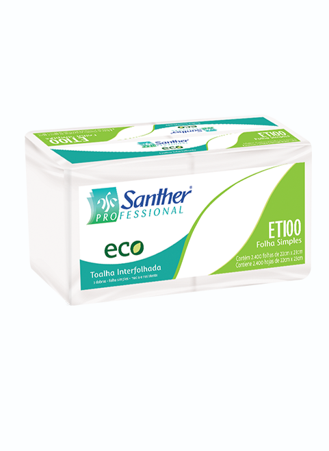 TOALHA INTER. ECO - 3 DOBRAS -FOLHA SIMPLES - 6X400 SANTHER ETI00