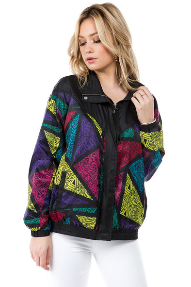Unisex Retro Print Windbreaker