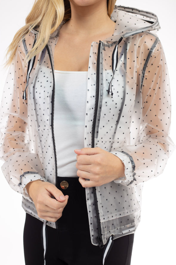 Star Printed Zip Up Rain Jacket