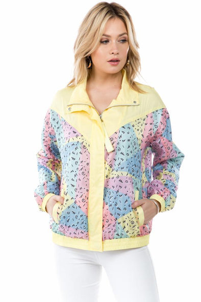 Scribble Print Windbreaker