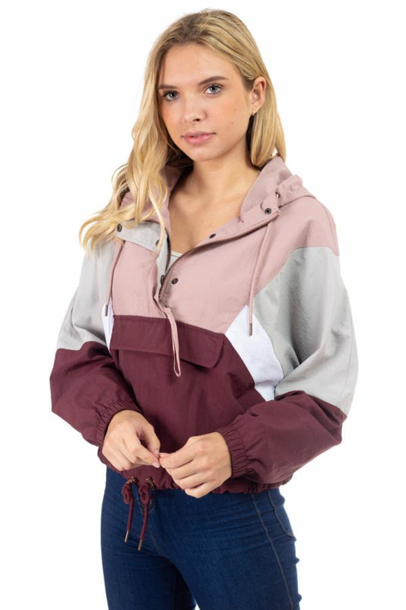 Dry Nylon Pull Over Hooded Crop Windbreaker