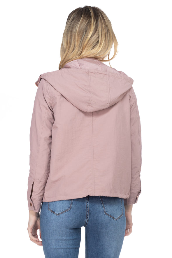 Dry Nylon Hooded Windbreaker with Front Pockets and Rose Gold trim