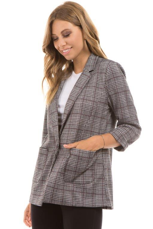 Knit Plaid Boyfriend Blazer