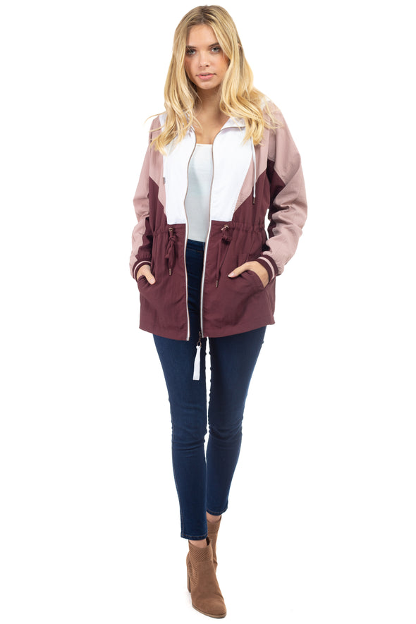 Dolman Sleeve Dry Nylon Color Block Anorak Jacket