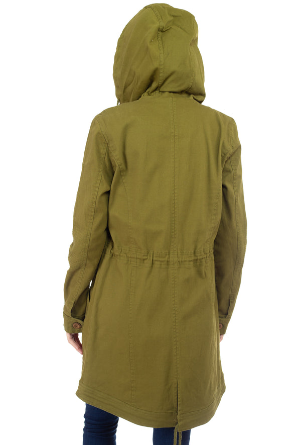 Cargo Pocket Hooded Anorak Jacket with Wood Trims