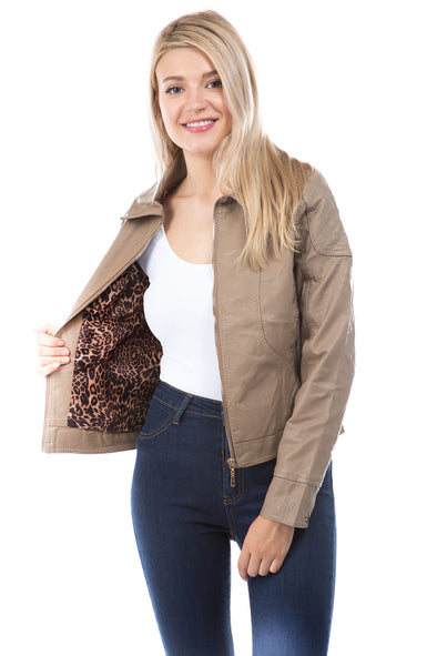 Vegan Leather Quilted Jacket with Faux Fur Leopard Lining