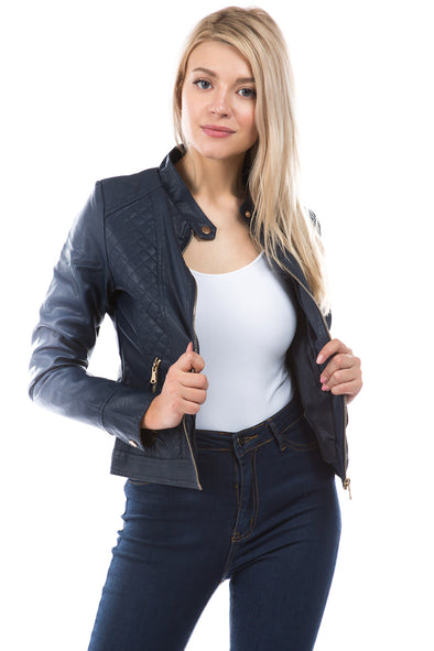Vegan Leather Moto Quilted Jacket