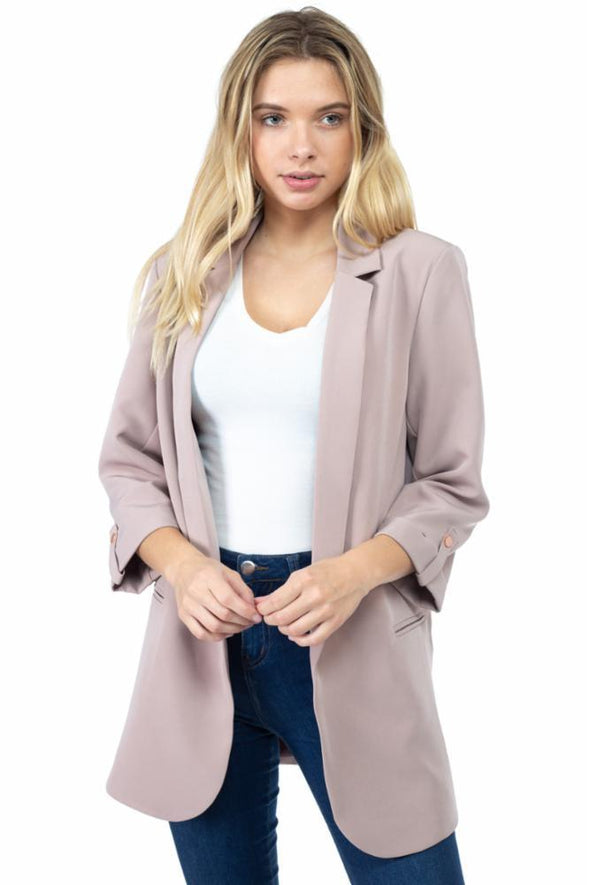 Crepe Blazer with Roll Tab Sleeves