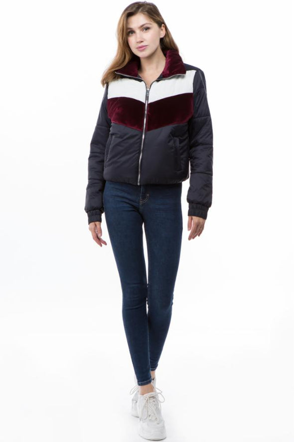 Chevron Color Block Polyfill Jacket