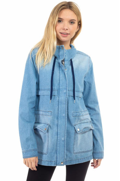 Flap Pocket Detail Denim Anorak Jacket