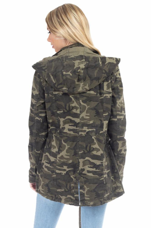 Cotton Camo Hooded Utility Jacket with Cargo Pockets