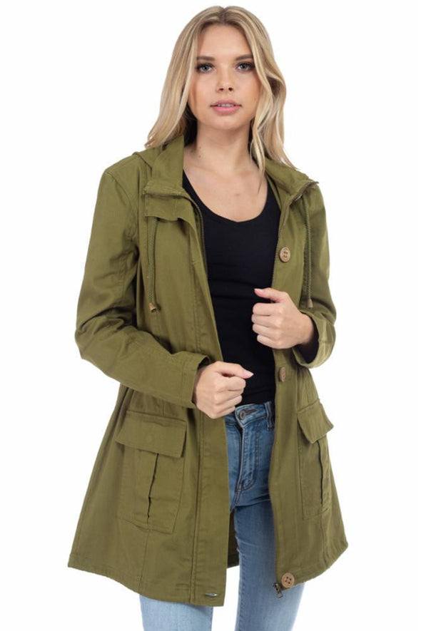 Long Hooded Anorak Jacket with Cargo Pockets