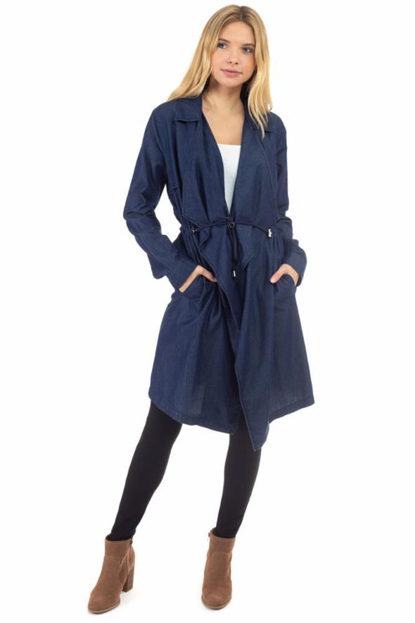 Cascade Light Denim Long Jacket with Waist Drawcord
