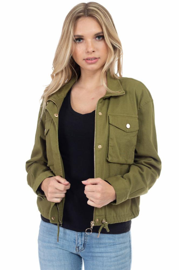 Cargo Pocket Cropped Cotton Jacket