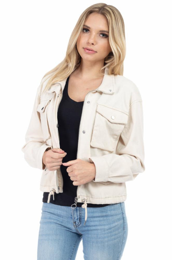Cargo Pockets Crop Cotton Jacket