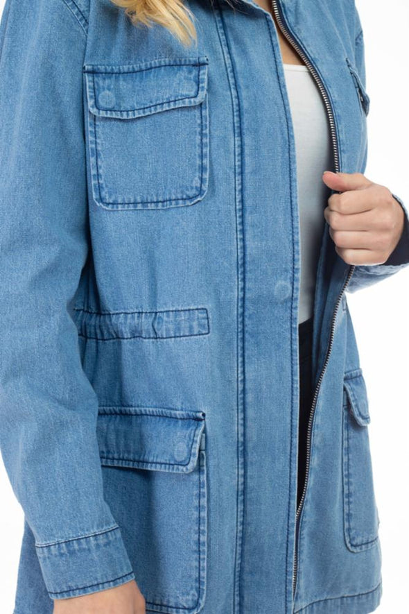 Hooded Denim 4-Pocket Anorak Jacket
