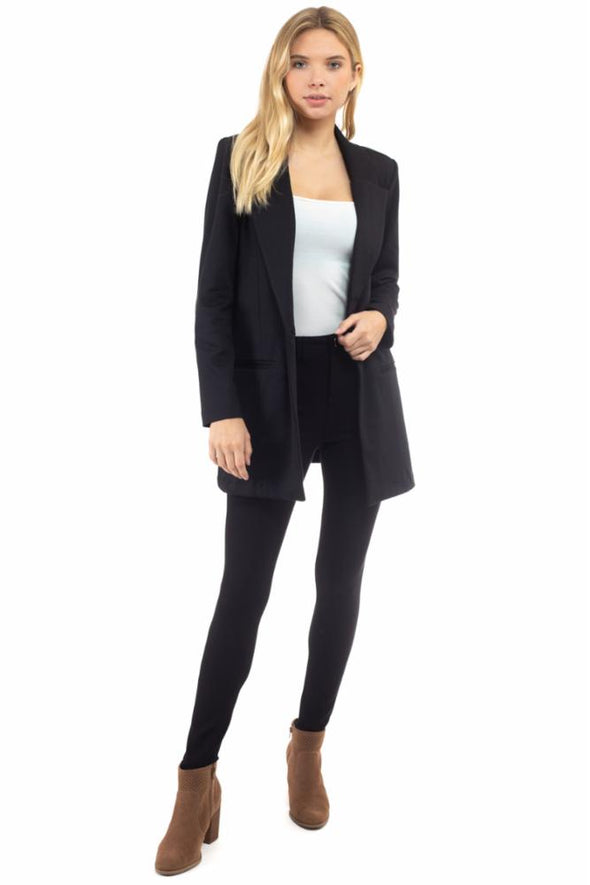 Ponte Blazer with Welt Pocket and Button Closure