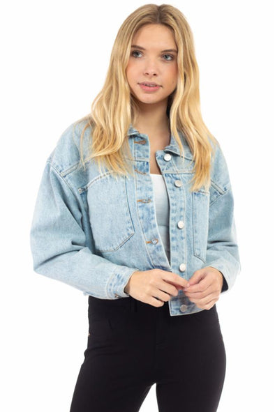 Oversized Cropped Denim Jacket