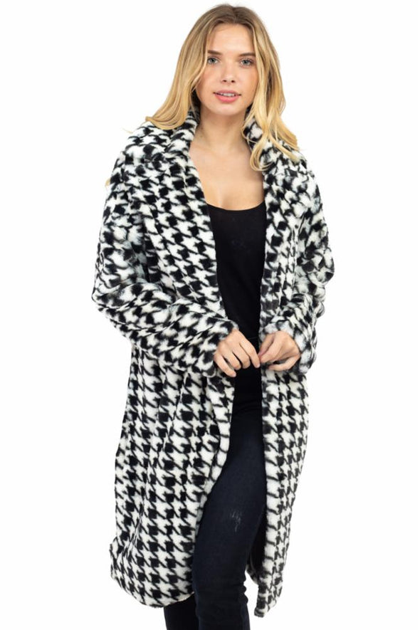 Houndstooth Pattern Long Faux Fur Coat