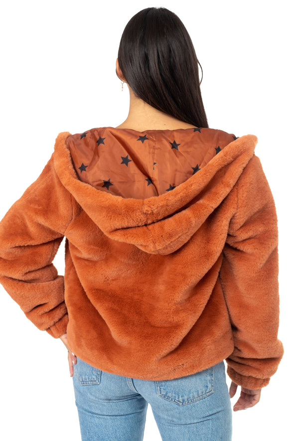 Hooded Zip Up Faux Fur Star Print Lined Bomber